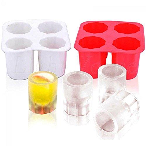 YuamMei Stampo in silicone per gelatina con 4 bicchieri in vetro per cubetti di ghiaccio, per cioccolatini, per feste estive, eventi, da cucina, blu