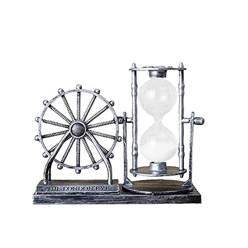 Ampulheta, artesanato de resina, temporizador de areia ampulheta ampulheta timer timer Relógio de areia para crianças jogos sala de aula cozinha decoração de escritório em casa (Color : Silver)