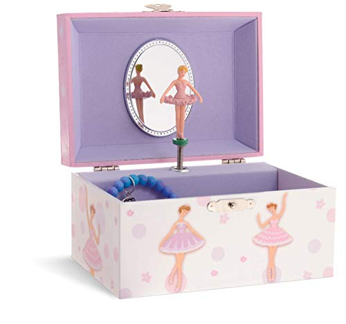 Jewelkeeper Pink and White Dotted Design, Girl's Ballerina Box, Sleeping Beauty Tune