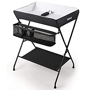 INFANS Baby Diaper Table, Portable Infant Changing Station with Safety Belt, Large Storage Basket & Shelf, Easy to Clean Waterproof Surface, Non Slip Foot Covers, Foldable Nursery Organizer (Black)
