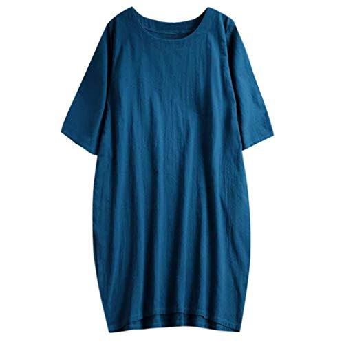 Vrouwen Katoen Linnen Lange Losse Jurk, Dames 3/4 Mouw Effen Kleur O-Hals Zomer Strand Casual Shirt Jurken