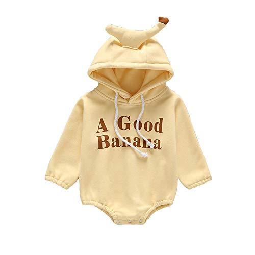 LPYR Baby Rompers Plus Fluwelen Dikke Letters Banaan lange mouw Hooded Jumpsuit voor mannen en vrouwen baby