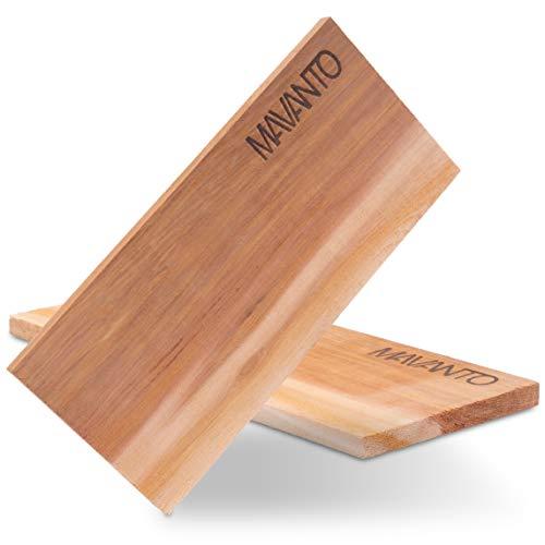MAVANTO® XXL Grillbretter Räucherbretter - Kanadisches Zedernholzbrett zum Grillen - EXTRA DICK (30x14x1,5cm) langlebig & wiederverwendbar (2er Set)
