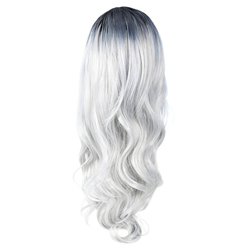 Frcolor FRCOLOR Curly Cosplay Wig, Black Ombre Grey Long Wave Wig Heat Resistant Lolita Style Anime Cosplay Wigs