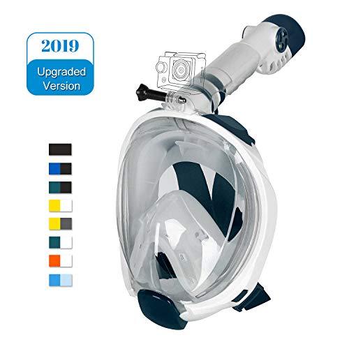 Unigear Máscara De Buceo Gafas Snorkel Facial Completa Adulto 180° Vista Panorámica con Camara Deportiva para Bucear Natación Anti-Vaho Anti-Fugas Modelo Último (Blanco+Verde, L/XL)