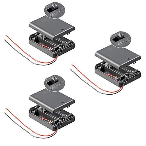 3X Batteriehalter | 3X AA Mignon | mit EIN Aus Schalter | lose Kabelenden | geschlossenes Gehäuse | wasserabweisend | schaltbar | Batteriefach Akkuhalter Aufbewahrungsbox | 3 Stück