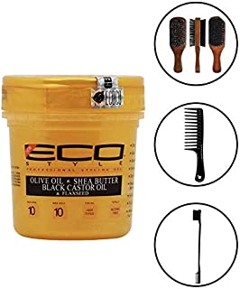 Eco Style Gold - Olive Oil, Shea Butter and Black Castor & Flaxseed Oil Gel 8oz (Including Double Sided Edge Control Hair Brush, Detangling Wide Tooth Comb Set & 100% Boar 2-Sided Club Brush)