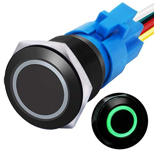 """mxuteuk 16mm Verriegelung Druckschalter 1NO 1NC SPDT EIN/AUS Schwarzes Metallgehäuse mit 12V grün LED-Ring mit Kabelbuchsenstecker Geeignet für 5/8 """"Montageloch L-16-O-B-G"""