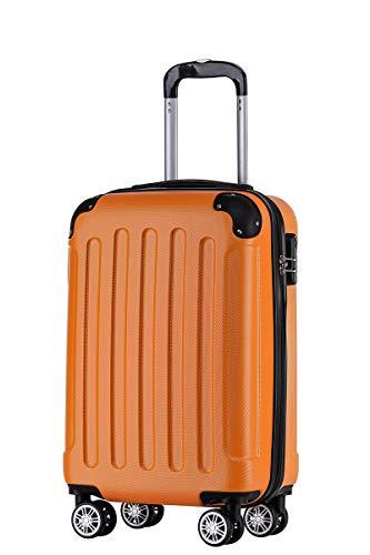 BEIBYE Hartschalen-Koffer Trolley Rollkoffer Reisekoffer Handgepäck 4 Rollen (M-L-XL-Set) (Orangen, M)