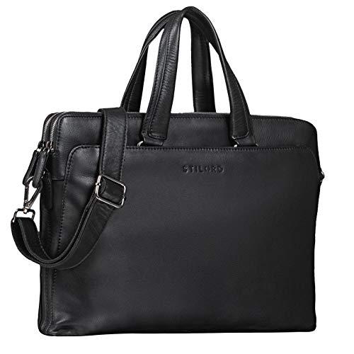STILORD 'Kylie' Business Ledertasche Damen 13,3 Zoll Laptoptasche Vintage Aktentasche Umhängetasche Handtasche für Büro Arbeit Echt Leder, Farbe:schwarz