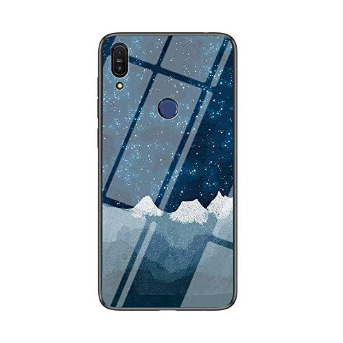 BeyondTop - Funda multicolor para Asus Zenfone Max Pro (M1) ZB601KL Funda de cristal templado transparente degradado compatible con Asus Zenfone Max Pro (M1) ZB601KL, Estrellado azul