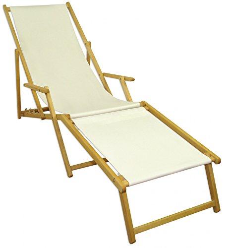 Sonnenliege weiß Liegestuhl klappbare Gartenliege Deckchair Strandstuhl Gartenmöbel Holz 10-303NF