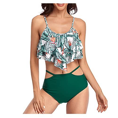 TGTB Moda de las mujeres nuevo traje de baño falda estilo doble volante hoja impresión cintura alta Sling Split traje de baño mujeres bikini