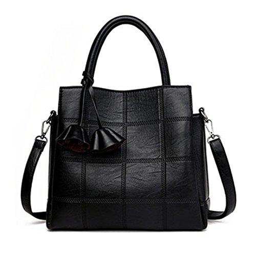 Plaid Leder Frauen Taschen Handtaschen Frauen berühmter Marken Designer Rose weiblichen Schultertasche Damen Sac schwarz, 30 x 14 x 26.