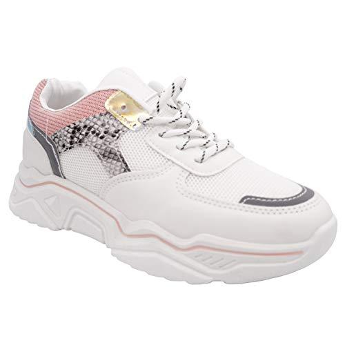 CucuFashion - Zapatillas de deporte para mujer con plataforma ligera y cómoda para correr, para uso diario, talla 36 – 8, color Rosa, talla 41 EU