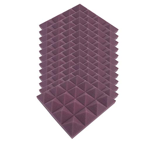 Linkay Schallabsorber Akustikschaumstoff für Zuhause und StudioNoppenschaumstoff Foam Decke Foam 25x25x5cm Schallabsorber Soundproof Foam Schallschutzmatte Absorberplatte (B-12pc-Lila )