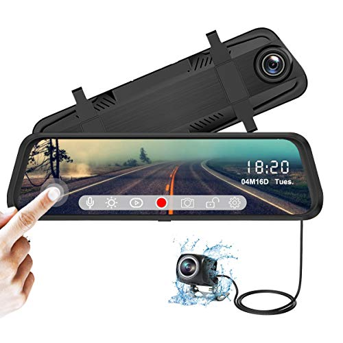 YDI Cámara de Coche FHD 1080P Espejo Retrovisor Dash Cam 10 Pulgadas Pantalla Táctil con Cámara Frontal Gran Angular 170° y Cámara Trasera Impermeable, Super Visión Nocturna
