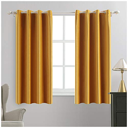 MIULEE 2 Panels Blackout Velvet Curtains Solid Soft Grommet Yellow Curtains Thermal Insulated Soundproof Room Darkening Curtains / Drapes / Panels for Living Room Bedroom 52 x 63 Inch