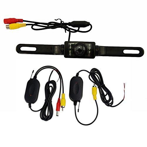 2.4G Support de Licence de Voiture sans Fil Vue arrière Caméra de recul de Secours avec Vision Nocturne Super IP67 Vue Grand Angle étanche 7 IR LED Vision Nocturne avec émetteur et récepteur