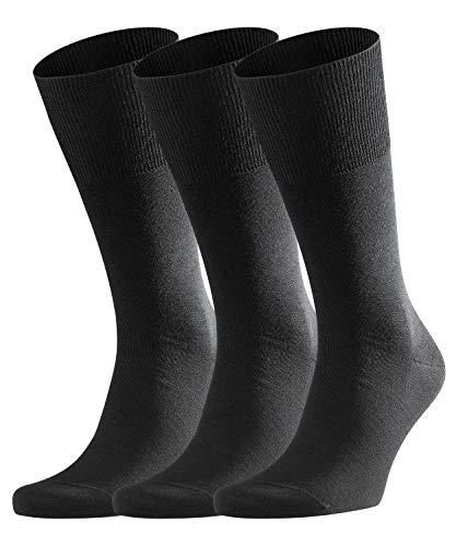 FALKE Herren Airport 3-Pack Socken, Größe 39-48, verf. Farbe: schwarz, Schurwollmischung - Multipack, warm, feuchtigkeitsregulierend, atmungsaktiv
