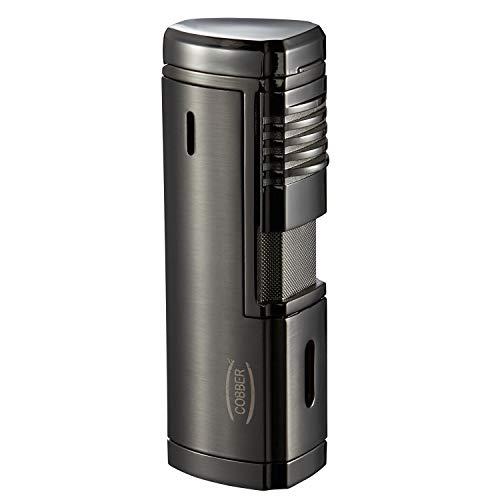 Cobber Torch Cigar Lighter, Quad 4 Jet Red Flame Refillable Butane Cigar Lighter with Punch, Large Size (Gunmetal Gray)