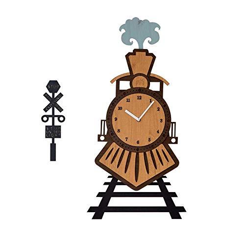 Reloj de Pared para Sala de Estar, Reloj de Pared sin Marco, Reloj de Tren de Madera Decoraciones Creativas para el hogar