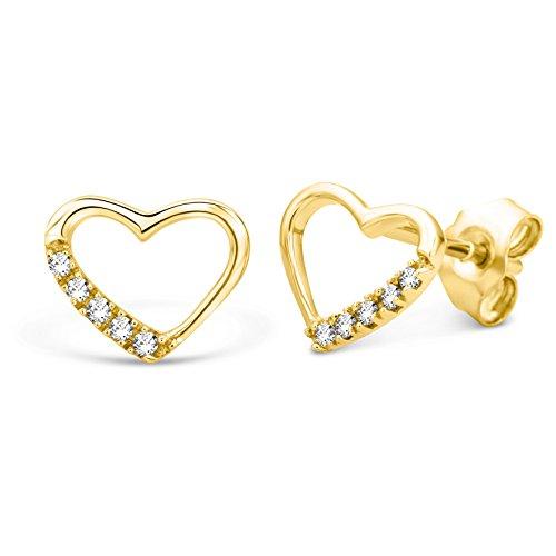 Miore Earrings Women studs Yellow Gold 9 Kt / 375 Heart Diamonds 0.07 ct