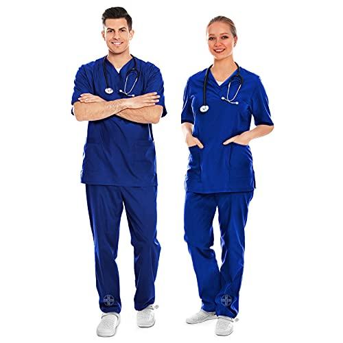 AIESI® Divisa Sanitaria Uomo Donna in Cotone 100% sanforizzato Pantaloni e Casacca Scollo a V # Taglia S Blu Royal