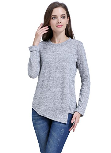 Emotion Moms Long Sleeve Maternity Clothes Nursing T-Shirts Breastfeeding Tops for Pregnant Women (Small, Light Gray)