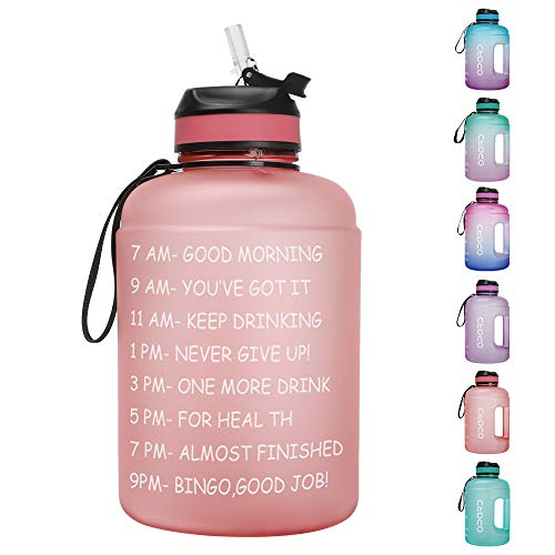 Opard 64 oz/Half Gallon Motivational Water Bottle with Time Marker & Straw BPA Free Leakproof Tritan Frosted Plastic Big 2L...