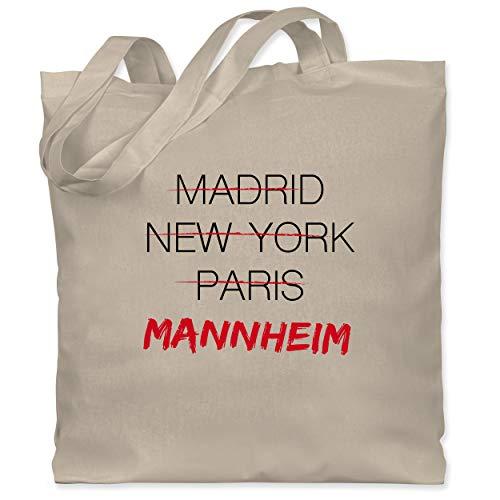 Shirtracer Städte - Weltstadt Mannheim - Unisize - Naturweiß - stadt mannheim - WM101 - Stoffbeutel aus Baumwolle Jutebeutel lange Henkel