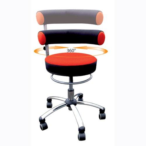 Bungarten Sanus Gesundheitsstuhl mit höhenverstellbarer Lehne, Sitzhöhe Standard (42-51 cm), Stoffbezug, rot/schwarz