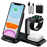 Wireless Charging Station, GEEKERA Detachable 3 in 1 Wireless Charger Stand for Apple Watch SE/6/5/4/3/2/AirPods Pro, Qi Charging Dock for iPhone 12/11/11 Pro/XS/XR/X/8P (with QC 3.0 Adapter)