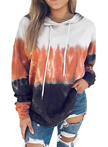 Eytino Women Hoodies Tops Tie Dye Printed Long Sleeve Drawstring Pullover Sweatshirts with Pocket,XX-Large Red