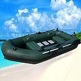 ouyalis Kayak Barcas Hinchables 2.3M Tres Personas Listones De Madera Piso Inferior Inflable Barco De Pesca Canoa Kayak con Remo De Aluminio para La Deriva Surf Playa De Arena-Verde Oliva