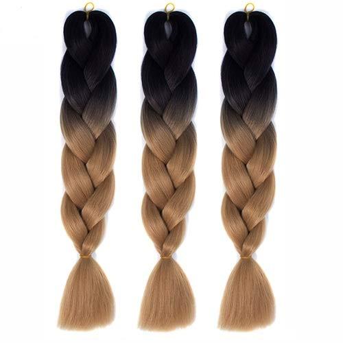 Ghfashion Extensiones de pelo largo sintético trenzado de ganchillo de color puro para mujeres negras