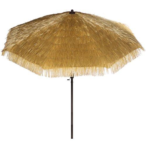 Hawaiian Style Outdoor Umbrella 9 FT Round Outdoor Market Patio Umbrella with Auto Tilt and Crank Lift Tiki Hawaiian Patio Umbrella Thatched Umbrella (Polyester, Tiki Natural)