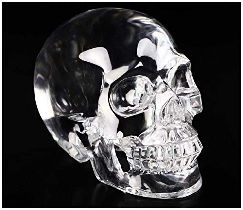 Skullis 5.0' K9 Crystal Skull, Hand Carved Gemstone Fine Art Sculpture, Reiki Healing Stone Statue.