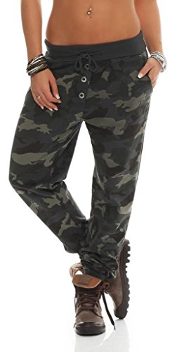 Shirtella 121 Damen Camouflage Militär Hose Sweatpants Jogginghose Baumwolle Freizeithose Sweathose mit Gummibund Dunkelgrau