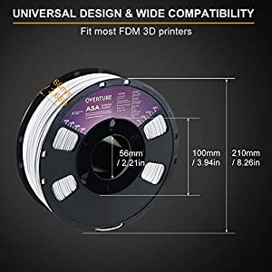 OVERTURE ASA Filament 1.75mm with Build Surface 200mm × 200mm, Premium Anti-UV 3D Printer Consumables, 1kg Spool (2.2lbs), Dimensional Accuracy +/- 0.05 mm, Fit Most FDM Printer (White)