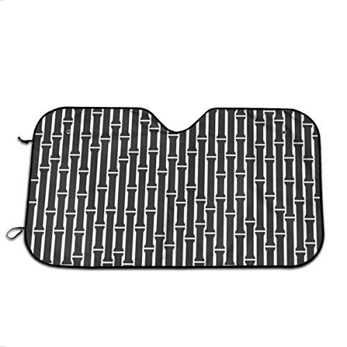 Du-shop Bambus Hintergrundmuster auf weißem Rücken Auto Windschutzscheibe Sonnenschutz 27,5 x 51 in lustigen Auto Frontfenster Sonnenschirm hält Fahrzeug kühl UV-Strahlen für LKW SUV Zubehör