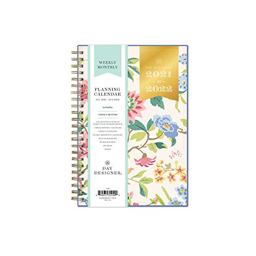 """Day Designer for Blue Sky 2021-2022 Academic Year Weekly & Monthly Planner, 5"""" x 8"""", Flexible Cover, Wirebound, Climbing Floral Blush (132249)"""