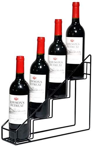 Estantería de vino Estante de vino Estante de vino Metal Metal Almacenamiento de vinos de pie para encimeras de cocina Tiendas Sostiene 4 botellas - Estante de vino portátil negro (Color: Negro, Tamañ