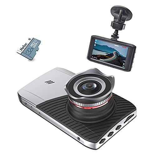 Dash Cam for Cars, FHD 1296P Car Driving Recorder, 3'' IPS, with 32GB Card, Night Vision, 170° Wide Angle, WDR, G-Sensor, Loop-Recording, Screen Protector, Parking Monitoring, Motion Detection