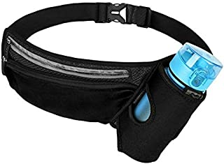 Foonee Reflective Running Belt, Multifunctional Zipper Pockets Adjustable Waist Bag, with Water Bottle Holder Fanny Pack for Sports Hiking Cycling Climbing and for Smartphones