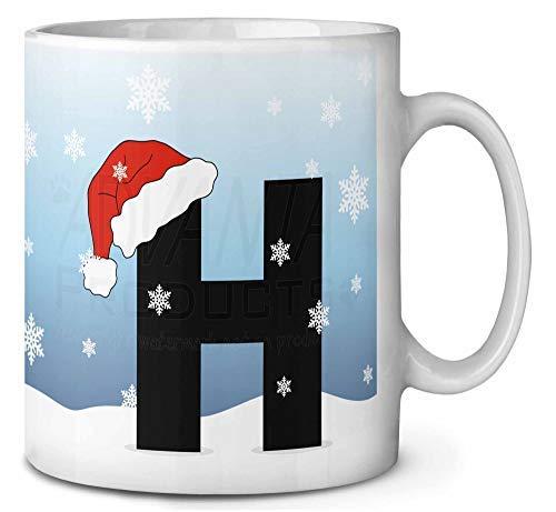 Brief H Het dragen van een Santas Hoed Koffie Thee Mok Kerstmis Stocking Filler Gift Idee