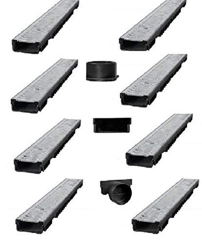 Bielbet Entwässerungsrinne h= 55mm 13,56€/m 8m Set inkl.Endkappen und Anschlussstück DN110