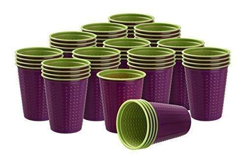 Akzenta 40 Pièce Gobelet Gobelets en Plastique 200 ML Divers Gobelet à Deux Couleurs Bicolore W5 - Violet-Vert, 200 ML