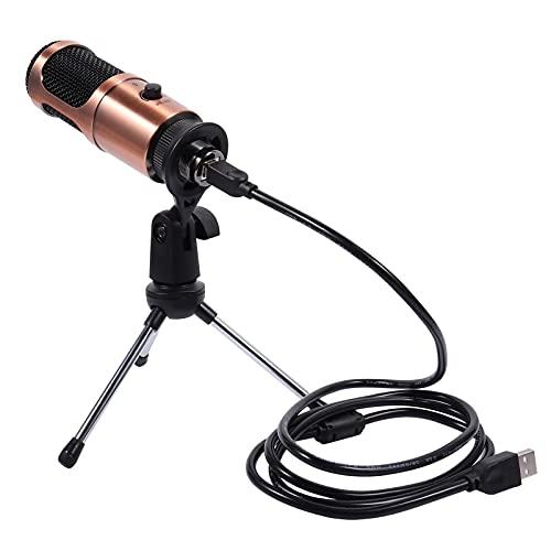 Generic Microfone USB para mesa - Microfone condensador de computador PC com suporte de tripé e botão giratório para gravação, transmissão de podcasts, jogos, no PC e Mac ()