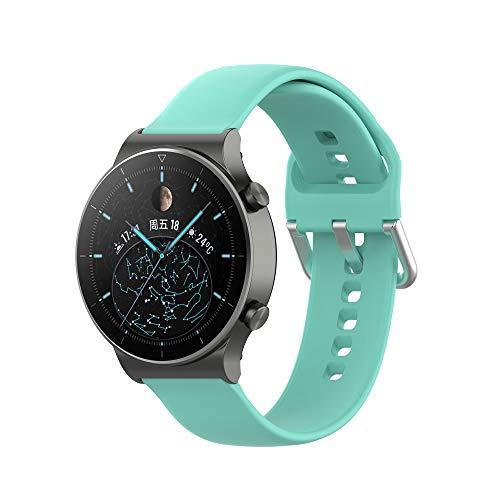 Yikamosi Compatibel met Huawei Watch GT2 Pro Bandje,22MM Snelle release Zachte Siliconen Roestvrij stalen sluiting Vervangende Bandje voor Huawei Watch GT2 Pro/Watch GT2 46MM,Klein-Munt